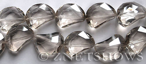 Tiaria Glass Crystal 70-Dark Tan Color kidney Beads <b>19x14mm</b> faceted halfmoon    per   <b> 8-in-str (11-pc-str)</b>