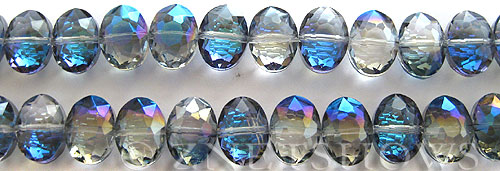 Tiaria Glass Crystal 123-Meridian Blue oval Beads <b>12x9mm</b> faceted center-drilled    per   <b> 8-in-str (22-pc-str)</b>