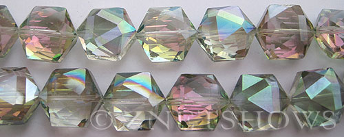 Tiaria Glass Crystal 120-Sahara Green hexagon Beads <b>16x15mm</b> faceted     per   <b> 15-pc-str</b>