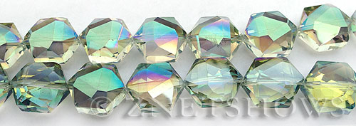 Tiaria Glass Crystal 122-Veridian Green hexagon Beads <b>16x15mm</b> faceted     per   <b> 15-pc-str</b>