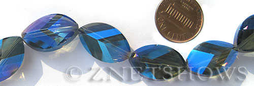 Tiaria Glass Crystal 118-Ultramarine Blue marquise spindle Beads <b>21x13mm</b> faceted     per   <b> 10-pc-str</b>