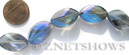 Tiaria Glass Crystal 123-Meridian Blue marquise spindle Beads <b>21x13mm</b> faceted     per   <b> 10-pc-str</b>