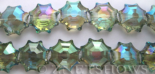 Tiaria Glass Crystal 122-Veridian Green flower Beads <b>18mm</b> faceted     per   <b> 13-pc-str</b>