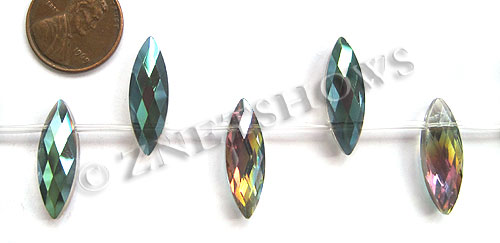 Tiaria Glass Crystal 120-Sahara Green marquise spindle Beads <b>22x7mm</b> faceted     per   <b> 12-pc-str</b>