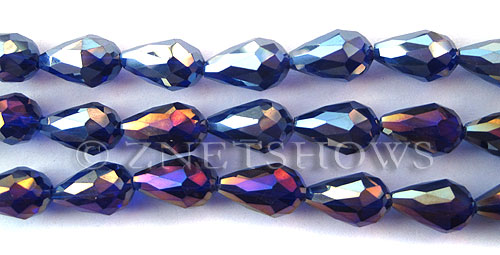 Tiaria Glass Crystal 33AB-Royal Blue AB teardrop Beads <b>15x10mm</b> faceted     per   <b> 12-pc-str</b>