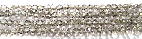 Tiaria Glass Crystal 102-Metallic Halftone Silver round Beads <b>4mm</b> faceted     per   <b> 10-str-hank (50-pc-str)</b>