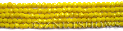Tiaria Glass Crystal 81-Opaque Yellow round Beads <b>4mm</b> faceted     per   <b> 10-str-hank  (50-pc-str)</b>