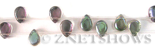 Tiaria Glass Crystal 120-Sahara Green teardrop Beads <b>10x8mm</b>      per   <b> 8-in-str (12-pc-str)</b>