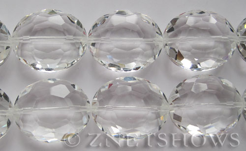 Tiaria Glass Crystal 01-Crystal oval Pendants <b>30x25mm</b> faceted     per   <b> 6-pc-str</b>