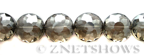 Tiaria Glass Crystal 70-Dark Tan Color coin Beads <b>18mm</b> faceted     per   <b> 11-pc-str</b>