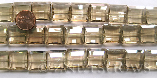 Tiaria Glass Crystal 69-Tan Color square Beads <b>14x14mm</b> faceted     per   <b> 12-pc-str</b>