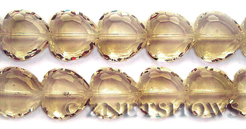 Tiaria Glass Crystal 69-Tan Color heart Beads <b>22mm</b> faceted     per   <b> 10-pc-str</b>