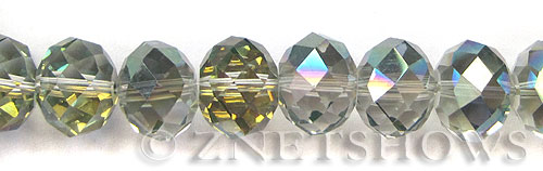 Tiaria Glass Crystal 120-Sahara Green rondelle Beads <b>18x13mm </b> faceted      per   <b> 10-pc-str </b>