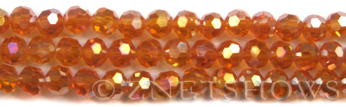 Tiaria Glass Crystal 83AB-Tangerine AB round Beads <b>8mm</b> faceted     per   <b> 10-str-hank (27-pc-str)</b>