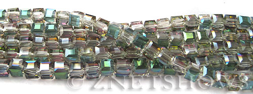 Tiaria Glass Crystal 120-Sahara Green cube Beads <b>4mm </b> faceted     per   <b> 10-str-hank  (50-pc-str)</b>