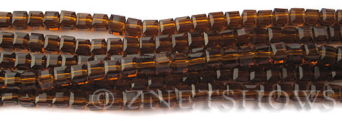 Tiaria Glass Crystal 18-Mocha cube Beads <b>4mm</b> faceted     per   <b> 10-str-hank (50-pc-str)</b>