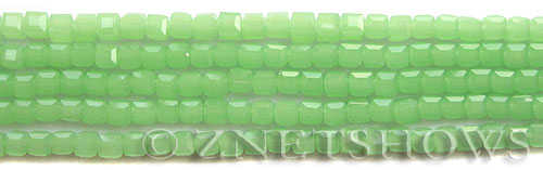 Tiaria Glass Crystal 44-Opaque Spring Green cube Beads <b>4mm</b> faceted     per   <b> 10-str-hank (50-pc-str)</b>