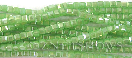 Tiaria Glass Crystal 44AB-Opaque Spring Green AB cube Beads <b>4mm</b> faceted     per   <b> 10-str-hank (50-pc-str)</b>