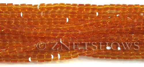 Tiaria Glass Crystal 57-Saffron Yellow cube Beads <b>4mm</b> faceted     per   <b> 10-str-hank (50-pc-str)</b>