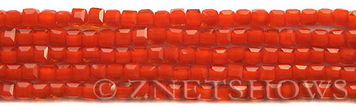 Tiaria Glass Crystal 73-Opaque Orange Flame cube Beads <b>4mm</b> faceted     per   <b> 10-str-hank (50-pc-str)</b>