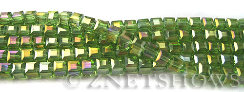 Tiaria Glass Crystal 80AB-Lime Green AB cube Beads <b>4mm </b> faceted     per   <b> 10-str-hank  (50-pc-str)</b>