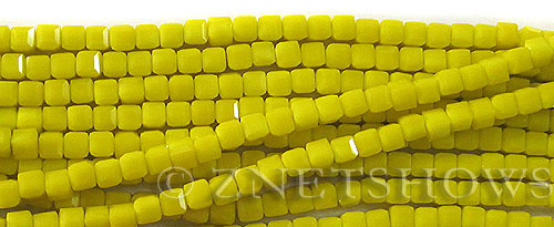 Tiaria Glass Crystal 81-Opaque Yellow cube Beads <b>4mm</b> faceted     per   <b> 10-str-hank (50-pc-str)</b>