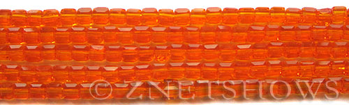 Tiaria Glass Crystal 83-Tangerine cube Beads <b>4mm</b> faceted     per   <b> 10-str-hank (50-pc-str)</b>