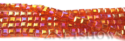 Tiaria Glass Crystal 83AB-Tangerine AB cube Beads <b>4mm </b> faceted     per   <b> 10-str-hank  (50-pc-str)</b>