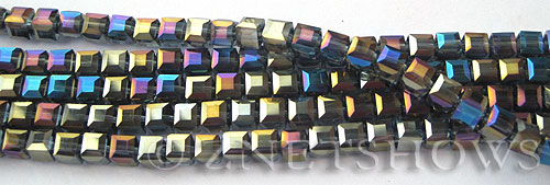 Tiaria Glass Crystal Montana Blue cube Beads <b>4mm </b> faceted   per   <b> 10-str-hank (50-pc-str)</b>