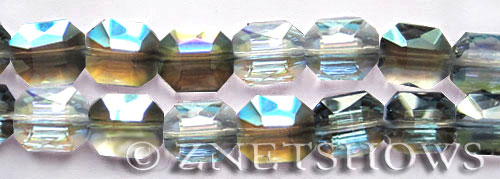 Tiaria Glass Crystal 123-Meridian Blue octagon Beads <b>18x15mm</b> faceted     per   <b> 8-in-str	 (11-pc-str)</b>