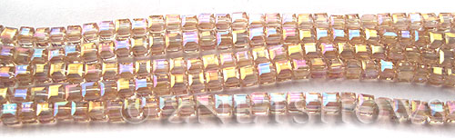 Tiaria Glass Crystal 07AB-Sweet Peach AB cube Beads <b>3mm </b> faceted     per   <b> 10-str-hank  (71-pc-str) </b>