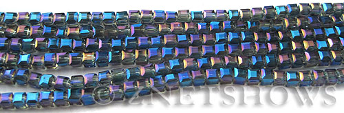 Tiaria Glass Crystal 118-Ultramarine Blue cube Beads <b>3mm </b> faceted     per   <b> 10-str-hank  (71-pc-str) </b>