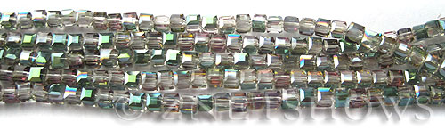 Tiaria Glass Crystal 120-Sahara Green cube Beads <b>3mm </b> faceted     per   <b> 10-str-hank  (71-pc-str) </b>
