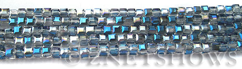 Tiaria Glass Crystal 123-Meridian Blue cube Beads <b>3mm </b> faceted     per   <b> 10-str-hank  (71-pc-str) </b>