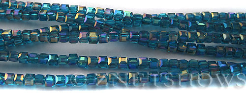 Tiaria Glass Crystal 82AB-Teal AB cube Beads <b>3mm </b> faceted     per   <b> 10-str-hank  (71-pc-str) </b>
