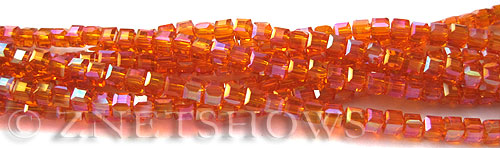 Tiaria Glass Crystal 83AB-Tangerine AB cube Beads <b>3mm </b> faceted     per   <b> 10-str-hank  (71-pc-str) </b>