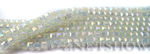 Tiaria Glass Crystal 86AB-Moonstone AB cube Beads <b>3mm </b> faceted     per   <b> 10-str-hank  (71-pc-str) </b>