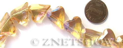 Tiaria Glass Crystal transparent gold heart Beads <b>18x14mm</b> faceted   per   <b> 11-pc-str</b>