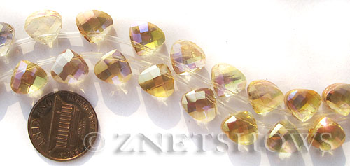Tiaria Glass Crystal Transparent Gold teardrop Beads <b>10x9mm</b> faceted   per   <b> 16-pc-str</b>