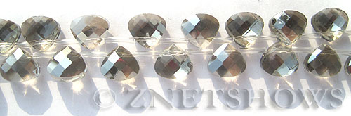Tiaria Glass Crystal 70-Dark Tan Color teardrop Beads <b>10x9mm</b> faceted     per   <b> 16-pc-str</b>