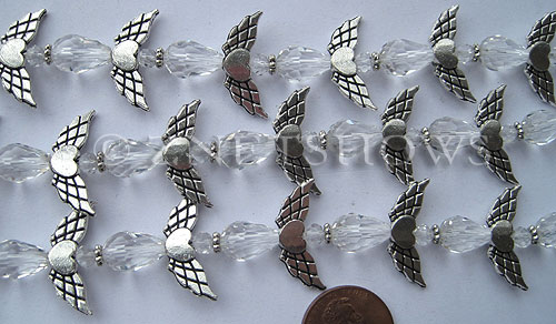 Tiaria Glass Crystal 01-Crystal tiaria mix Beads <b>varies</b> angel style     per   <b> 10-set-str</b>