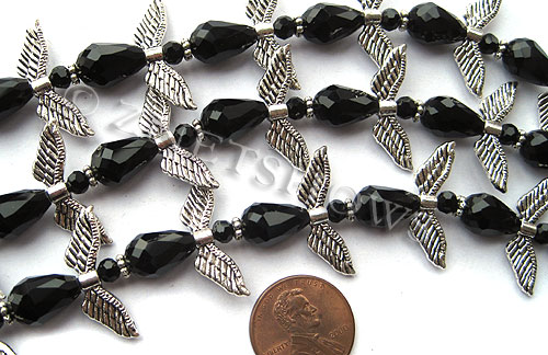 Tiaria Glass Crystal 02-Jet Black tiaria mix Beads <b>varies</b> angel style     per   <b> 10-set-str</b>