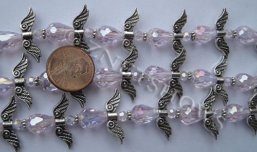 Tiaria Glass Crystal 06AB-Blossom Pink AB tiaria mix Beads <b>varies</b> angel style     per   <b> 10-set-str</b>