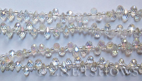 Tiaria Glass Crystal 01AB-Crystal AB teardrop Beads <b>9x6mm</b> faceted     per   <b> 100-pc-str</b>