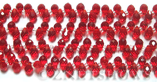Tiaria Glass Crystal 05-Cherry Red teardrop Beads <b>9x6mm	</b> faceted tip-drilled    per   <b> 100-pc-str</b>