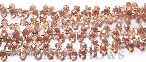 Tiaria Glass Crystal 07AB-Sweet Peach AB teardrop Beads <b>9x6mm	</b> faceted tip-drilled    per   <b> 100-pc-str</b>