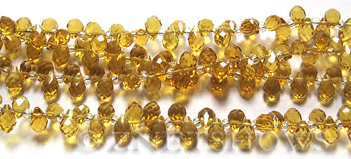 Tiaria Glass Crystal 16-Desert Gold teardrop Beads <b>9x6mm	</b> faceted tip-drilled    per   <b> 100-pc-str</b>