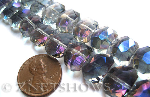 Tiaria Glass Crystal 121-Half Heliotrope nugget Beads <b>14x10mm </b> faceted     per   <b> 17-pc-str </b>