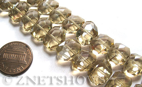 Tiaria Glass Crystal 69-Tan Color nugget Beads <b>14x10mm</b> faceted     per   <b> 17-pc-str</b>