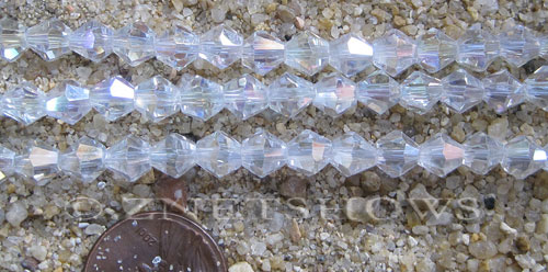 Tiaria Glass Crystal 01AB-Crystal AB bicone Beads <b>6mm</b> faceted     per   <b> 10-str-hank (32-pc-str)</b>